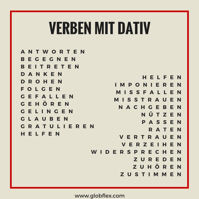 Verben mit dativ und akkusativ im job deutsch online for Nach akkusativ oder dativ
